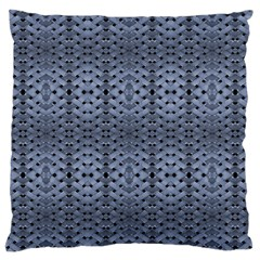 Futuristic Geometric Pattern Design Print in Blue Tones Large Flano Cushion Case (Two Sides)