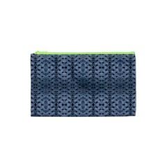 Futuristic Geometric Pattern Design Print in Blue Tones Cosmetic Bag (XS)