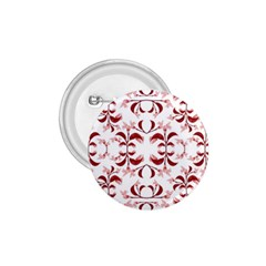 Floral Print Modern Pattern In Red And White Tones 1 75  Button