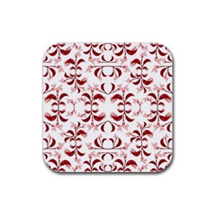 Floral Print Modern Pattern In Red And White Tones Drink Coasters 4 Pack (square)