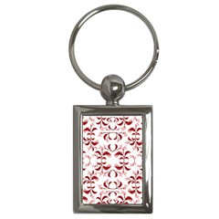 Floral Print Modern Pattern In Red And White Tones Key Chain (rectangle)