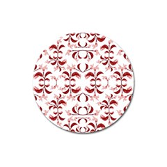 Floral Print Modern Pattern In Red And White Tones Magnet 3  (round)