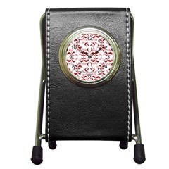 Floral Print Modern Pattern In Red And White Tones Stationery Holder Clock