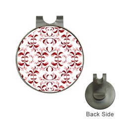 Floral Print Modern Pattern in Red and White Tones Hat Clip with Golf Ball Marker