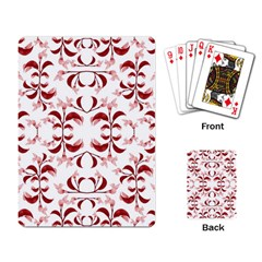 Floral Print Modern Pattern In Red And White Tones Playing Cards Single Design
