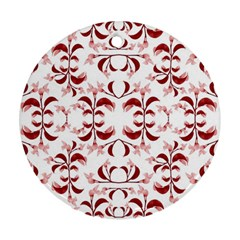 Floral Print Modern Pattern In Red And White Tones Round Ornament (two Sides)