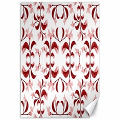 Floral Print Modern Pattern In Red And White Tones Canvas 12  X 18  (unframed)