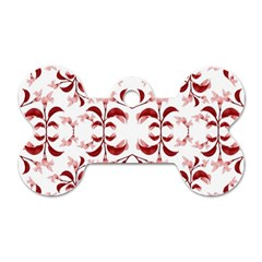 Floral Print Modern Pattern In Red And White Tones Dog Tag Bone (one Sided)