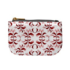 Floral Print Modern Pattern In Red And White Tones Coin Change Purse