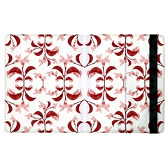 Floral Print Modern Pattern In Red And White Tones Apple Ipad 3/4 Flip Case
