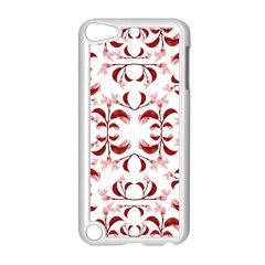 Floral Print Modern Pattern in Red and White Tones Apple iPod Touch 5 Case (White)