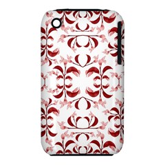 Floral Print Modern Pattern in Red and White Tones Apple iPhone 3G/3GS Hardshell Case (PC+Silicone)