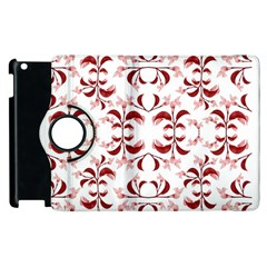 Floral Print Modern Pattern In Red And White Tones Apple Ipad 2 Flip 360 Case