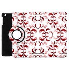 Floral Print Modern Pattern In Red And White Tones Apple Ipad Mini Flip 360 Case