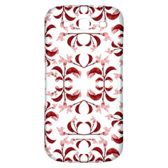 Floral Print Modern Pattern In Red And White Tones Samsung Galaxy S3 S Iii Classic Hardshell Back Case
