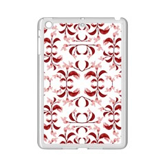 Floral Print Modern Pattern in Red and White Tones Apple iPad Mini 2 Case (White)