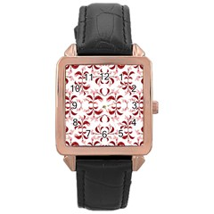 Floral Print Modern Pattern In Red And White Tones Rose Gold Leather Watch