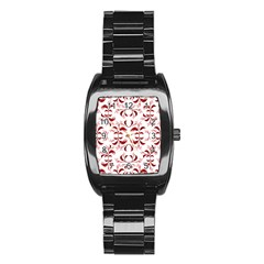 Floral Print Modern Pattern In Red And White Tones Stainless Steel Barrel Watch