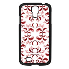 Floral Print Modern Pattern In Red And White Tones Samsung Galaxy S4 I9500/ I9505 Case (black)