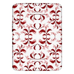 Floral Print Modern Pattern in Red and White Tones Samsung Galaxy Tab 3 (10.1 ) P5200 Hardshell Case