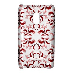 Floral Print Modern Pattern in Red and White Tones Nokia Lumia 620 Hardshell Case