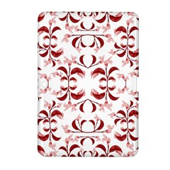 Floral Print Modern Pattern in Red and White Tones Samsung Galaxy Tab 2 (10.1 ) P5100 Hardshell Case
