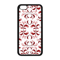 Floral Print Modern Pattern in Red and White Tones Apple iPhone 5C Seamless Case (Black)
