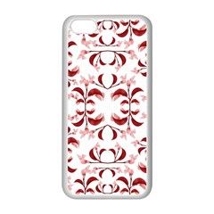 Floral Print Modern Pattern in Red and White Tones Apple iPhone 5C Seamless Case (White)