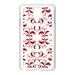 Floral Print Modern Pattern In Red And White Tones Samsung Galaxy Note 3 N9005 Case (white)