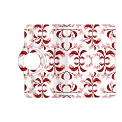 Floral Print Modern Pattern in Red and White Tones Kindle Fire HD (2013) Flip 360 Case