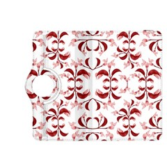Floral Print Modern Pattern In Red And White Tones Kindle Fire Hdx 8 9  Flip 360 Case