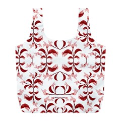 Floral Print Modern Pattern in Red and White Tones Reusable Bag (L)