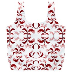 Floral Print Modern Pattern in Red and White Tones Reusable Bag (XL)