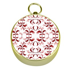 Floral Print Modern Pattern in Red and White Tones Gold Compass
