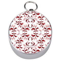 Floral Print Modern Pattern in Red and White Tones Silver Compass