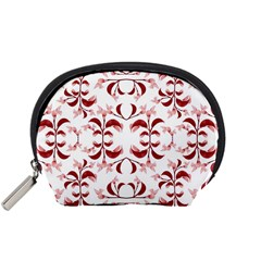 Floral Print Modern Pattern in Red and White Tones Accessory Pouch (Small)