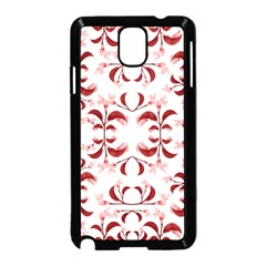 Floral Print Modern Pattern in Red and White Tones Samsung Galaxy Note 3 Neo Hardshell Case (Black)