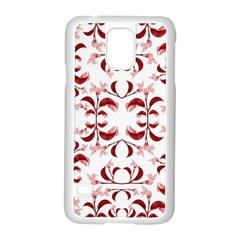 Floral Print Modern Pattern In Red And White Tones Samsung Galaxy S5 Case (white)