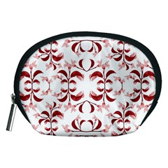 Floral Print Modern Pattern in Red and White Tones Accessory Pouch (Medium)