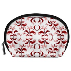 Floral Print Modern Pattern in Red and White Tones Accessory Pouch (Large)