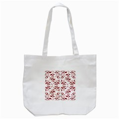 Floral Print Modern Pattern in Red and White Tones Tote Bag (White)