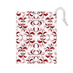 Floral Print Modern Pattern in Red and White Tones Drawstring Pouch (Large)