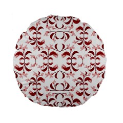 Floral Print Modern Pattern in Red and White Tones 15  Premium Flano Round Cushion