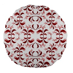 Floral Print Modern Pattern in Red and White Tones 18  Premium Flano Round Cushion