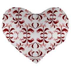Floral Print Modern Pattern In Red And White Tones 19  Premium Flano Heart Shape Cushion