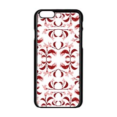 Floral Print Modern Pattern in Red and White Tones Apple iPhone 6 Black Enamel Case