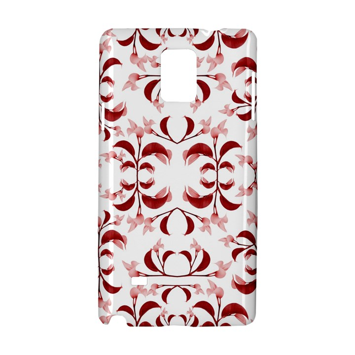 Floral Print Modern Pattern in Red and White Tones Samsung Galaxy Note 4 Hardshell Case