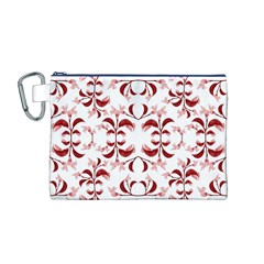 Floral Print Modern Pattern in Red and White Tones Canvas Cosmetic Bag (Medium)