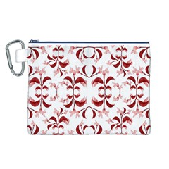 Floral Print Modern Pattern in Red and White Tones Canvas Cosmetic Bag (Large)