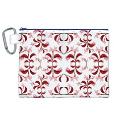 Floral Print Modern Pattern in Red and White Tones Canvas Cosmetic Bag (XL)
